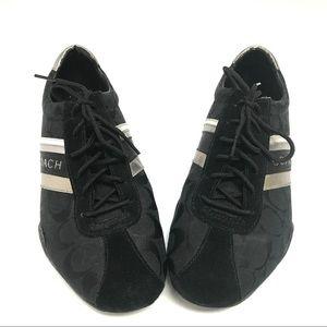 EUC Coach Jayme Black/Silver Striped Sneakers 10M